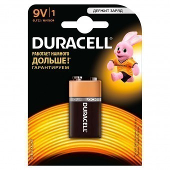 Батарейка 9V (MN1604) Duracell Basic (блистер, 1 шт)