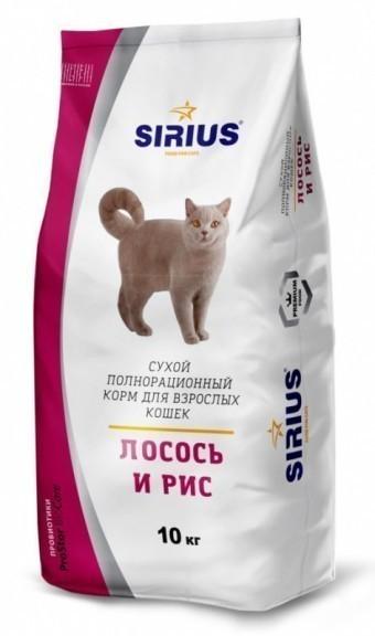 Сухой корм для кошек SIRIUS, лосось и рис, 10 кг