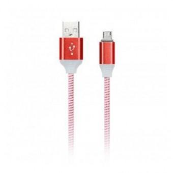 Кабель зарядки Smartbuy 512 Illuminate, USB - iPhone (2 А, 1 м, красный)