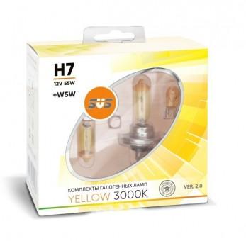 Лампы SVS Yellow 3000K H7 (12 V, 55W, +2 W5W)
