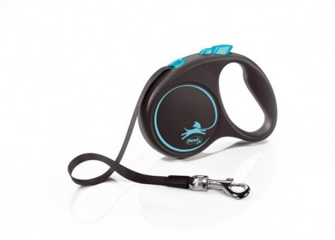 Рулетка Flexi Black Design S, лента, 5 м, черно-синий