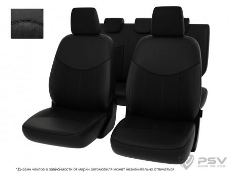 """Чехлы  Hyundai Elantra V 2010-2016 г. - черная экокожа + черная алькантара """"Оригинал"""""""