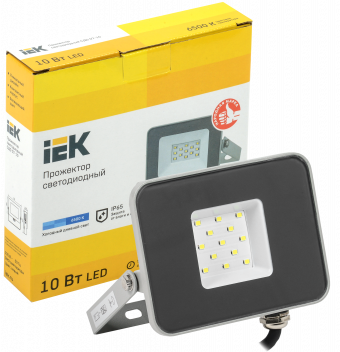 Прожектор светодиодный IEK СДО-07-10 (6500К, 10Вт, 900Лм, серый)