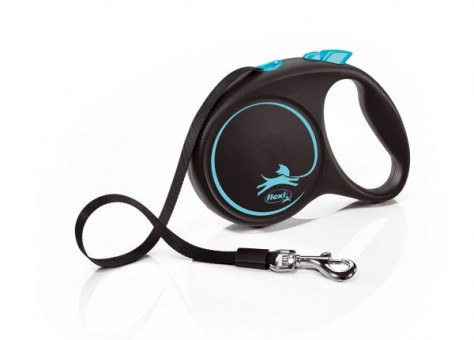Рулетка Flexi Black Design M, лента, 5 м, черно-синий