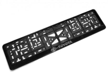 Рамка для номера с логотипом Toyota (с нижней защелкой, черная)