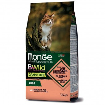 Сухой корм для кошек Monge BWild Grain Free - Adult Salmone (1,5 кг)