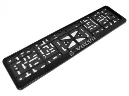 Рамка для номера с логотипом Volvo (с нижней защелкой, черная)