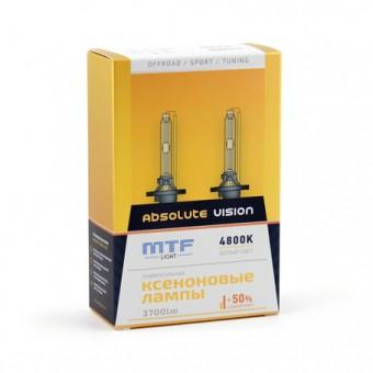 Ксеноновые лампы MTF Absolute Vision H7 4800K (+50%, 2 шт)