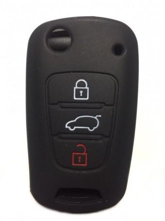 Чехол силиконовый для выкидного ключа Hyundai 3кн. (черный)