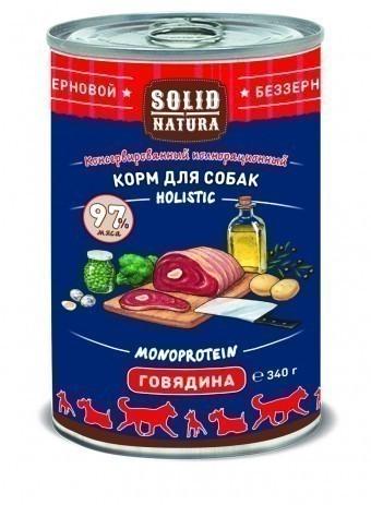 Консервы для собак Solid Natura Holistic, говядина, 340 г