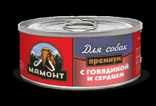 Консервы для собак Мамонт Премиум, фарш, говядина с сердцем (100 г)