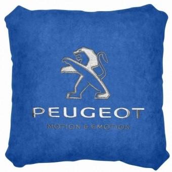Подушка замшевая Peugeot (А12 - синяя)