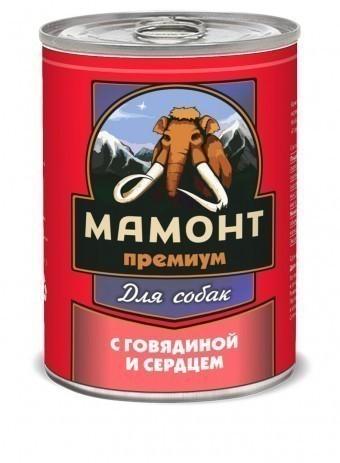 Консервы для собак Мамонт Премиум, фарш, говядина с сердцем (340 г)