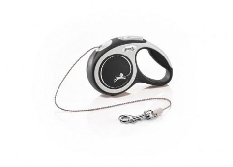 Рулетка Flexi Comfort New XS, трос, 3 м, серо-черный
