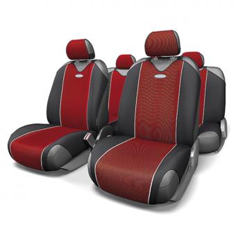 Чехлы-майки Автопрофи Carbon (комплект) - черно-красные