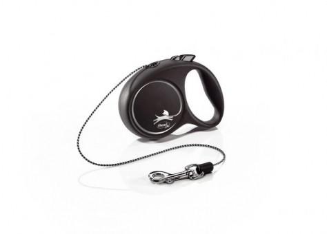 Рулетка Flexi Black Design XS, трос, 3 м, черно-серебристый