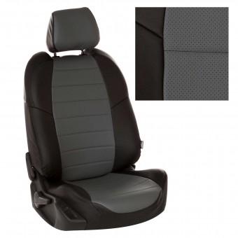 Чехлы Автопилот VW Polo (2009>) Hb, раздел. - черно-серые
