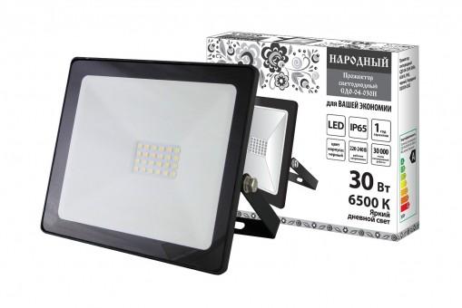 Прожектор светодиодный TDM СДО-04-30Н (6500К, 30Вт, 2400Лм, черный)
