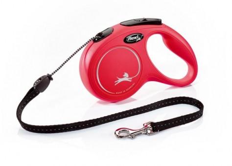 Рулетка Flexi Classic New M, трос, 8 м, красный