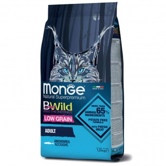 Сухой корм для кошек Monge BWild Low Grain - Adult Anchovies (1,5 кг)