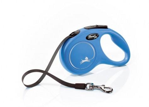 Рулетка Flexi Classic New S, лента, 5 м, синий
