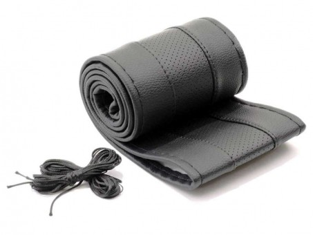 Оплетка руля со шнуровкой Автопилот NR 5002 (нат. кожа, черная)