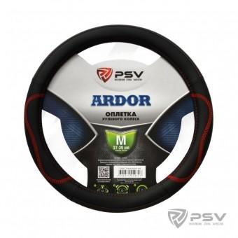 Оплетка руля PSV Ardor (черная/отстрочка красная)