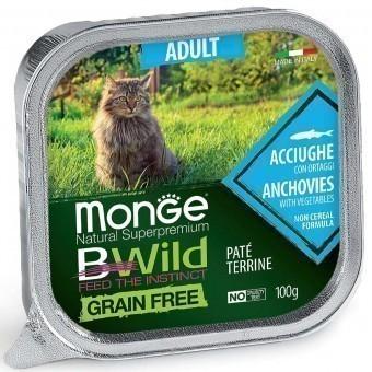 Паштет для кошек Monge BWild Grain Free - Pate terrine Acciughe, Adult (100 г)