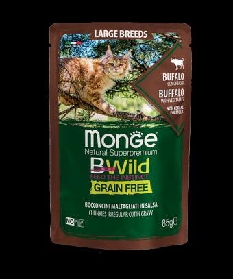 Пауч для кошек Monge BWild Grain Free - Bocconcini Bufalo Large Breeds (85 г)