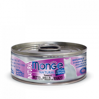 Консервы для кошек Monge Natural - Petto di Pollo con Manzo (80 г)