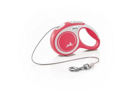 Рулетка Flexi Comfort New XS, трос, 3 м, серо-красный
