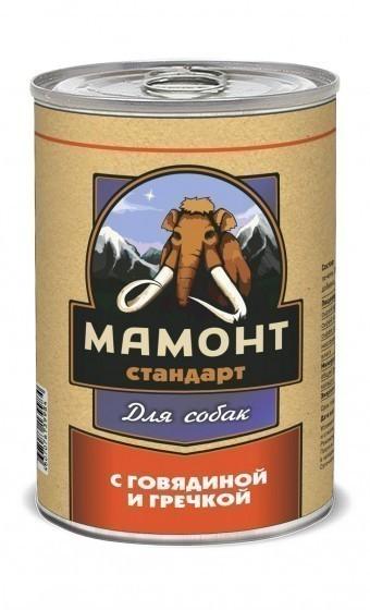 Консервы для собак Мамонт Стандарт, говядина с гречкой (970 г)