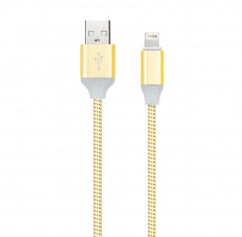 Кабель зарядки Smartbuy 512 Illuminate, USB - iPhone (2 А, 1 м, золотой)