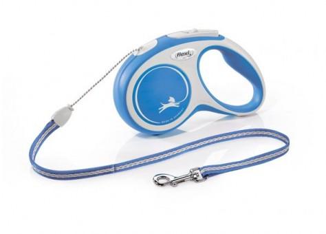 Рулетка Flexi Comfort New S, трос, 5 м, серо-синий