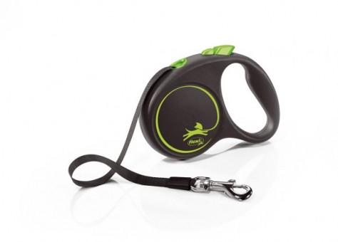 Рулетка Flexi Black Design S, лента, 5 м, черно-зеленый