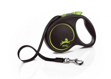 Рулетка Flexi Black Design M, лента, 5 м, черно-зеленый