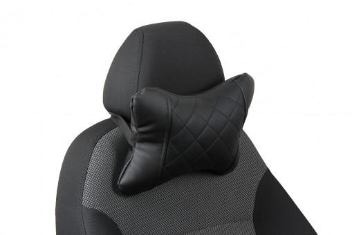 Подушка-косточка Автопилот Экокожа (ромб, черная)