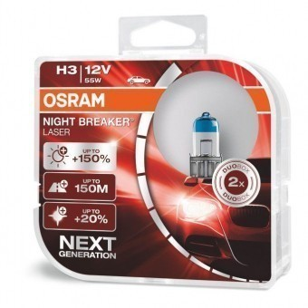 Лампы Osram H3 Night Breaker Laser (12 В, 55 Вт, +150%, блистер, 2 шт)