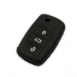 Чехол силиконовый для выкидного ключа Volkswagen 3 кн. (Passat, Golf, Polo, черный)