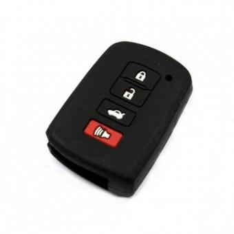 Чехол для смарт-ключа Toyota (Camry после 2012г, 4 кнопки, черная кожа)