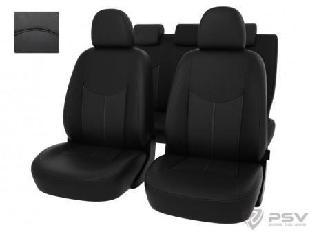 Чехлы Datsun On-Do 2014-> спл. черный/отстрочка черная, экокожа *Оригинал*