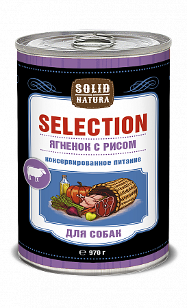 Консервы для собак Solid Natura Selection, ягненок с рисом (970 г)