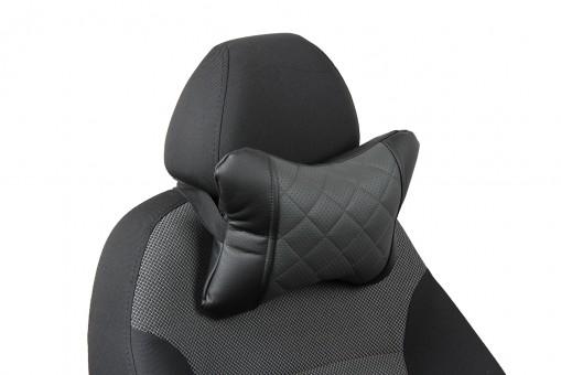 Подушка-косточка Автопилот Экокожа (ромб, черно-серая)