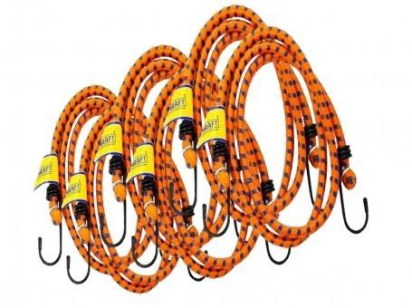 Стяжки-резинки Kraft 6 шт (2х60 см, 2x80 см, 2x100 см, метал. крючки)