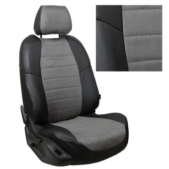 Чехлы Автопилот VW Polo (2009>) Sd, раздел. - черно-серые, алькантара