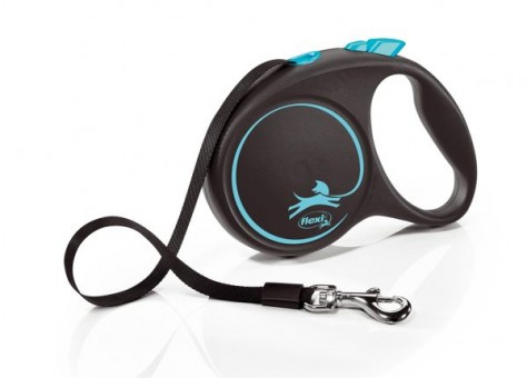 Рулетка Flexi Black Design L, лента, 5 м, черно-синий