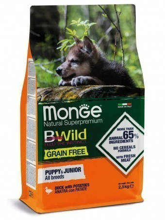 Сухой корм для щенков Monge BWild Grain Free - Puppy & Junior Anatra (беззерновой, 2,5 кг)