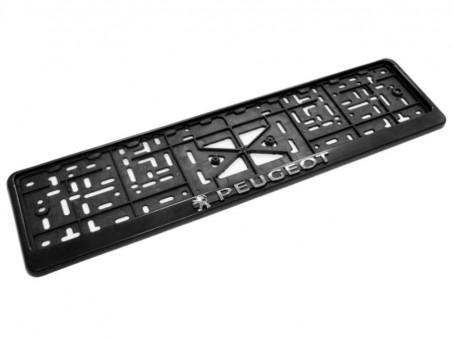 Рамка для номера с логотипом Peugeot (с нижней защелкой, черная)