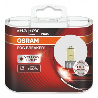 Лампы Osram H3 Fog Breaker (12 В, 55 Вт, +60%, блистер, 2 шт)
