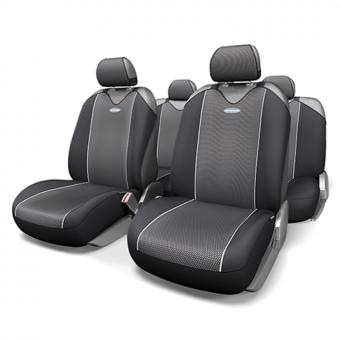 Чехлы-майки Автопрофи Carbon Plus (комплект) - черно-серые